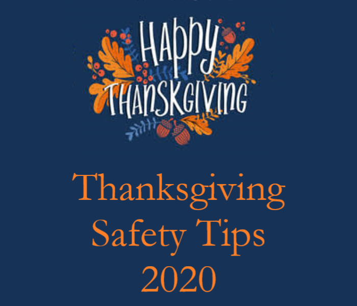 Happy Thanksgiving with vibrant leaves and blue background and text that reads Thanksgiving Safety Tips 2020