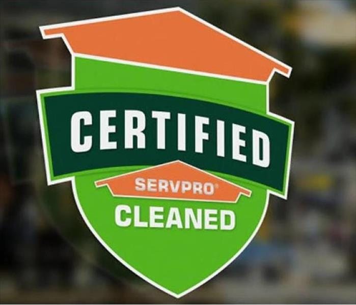 Certified: SERVPRO Cleaned decal in window